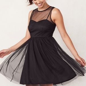 LC Lauren Conrad Flocked Tulle Fit & Flare Dress